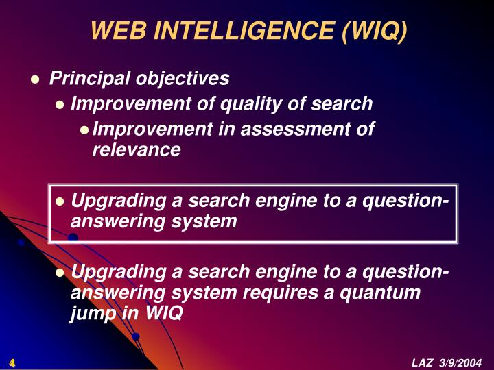 WEB INTELLIGENCE (WIQ)