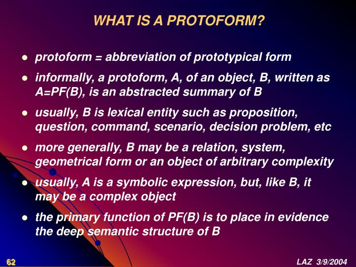 WHAT IS A PROTOFORM?