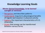 knowledge learning goals