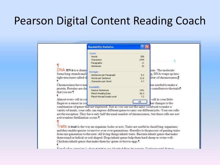 Pearson Digital Content Reading Coach