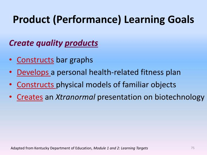 Product (Performance) Learning Goals