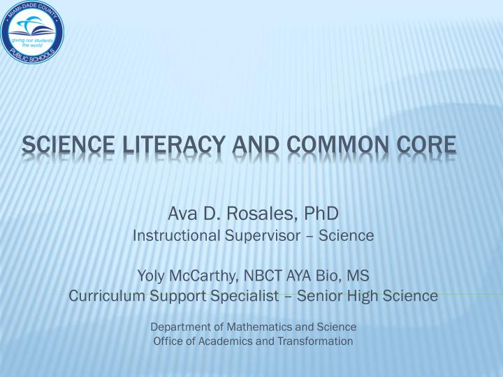 science literacy and common core