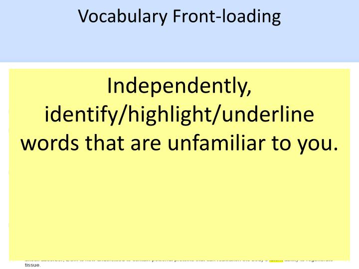 Vocabulary Front-loading