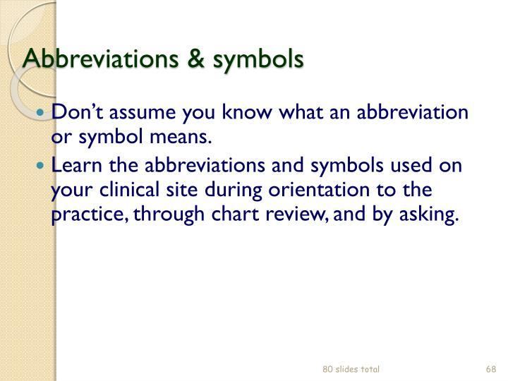 Abbreviations & symbols