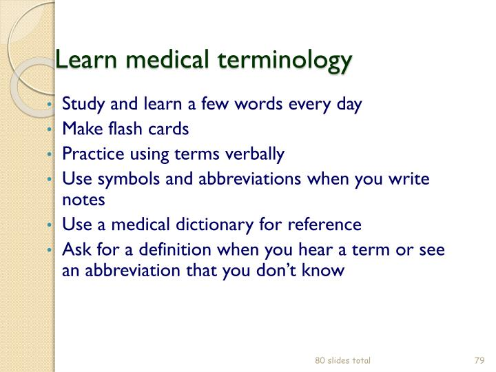 Learn medical terminology