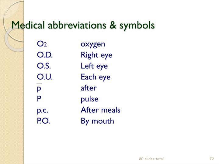 Medical abbreviations & symbols
