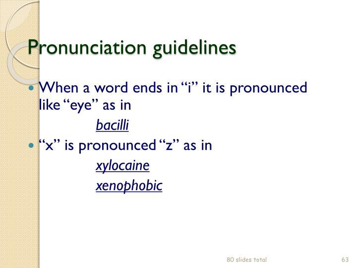 Pronunciation guidelines
