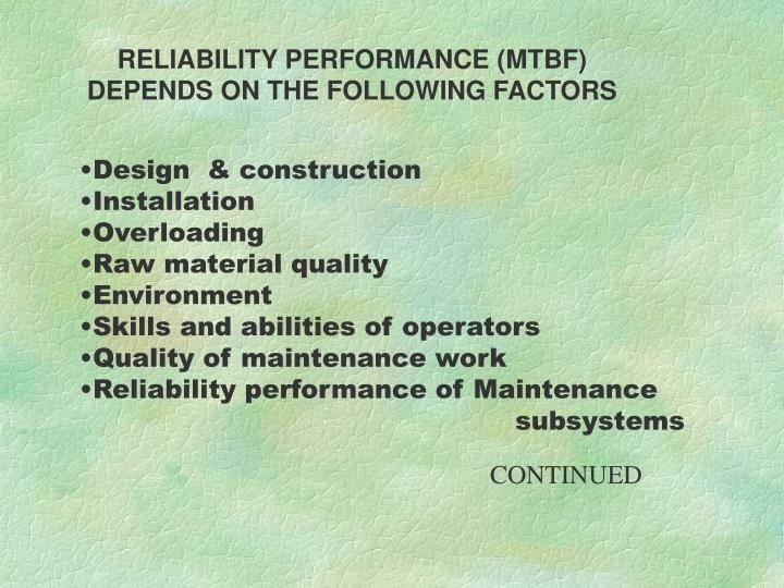 RELIABILITY PERFORMANCE (MTBF)