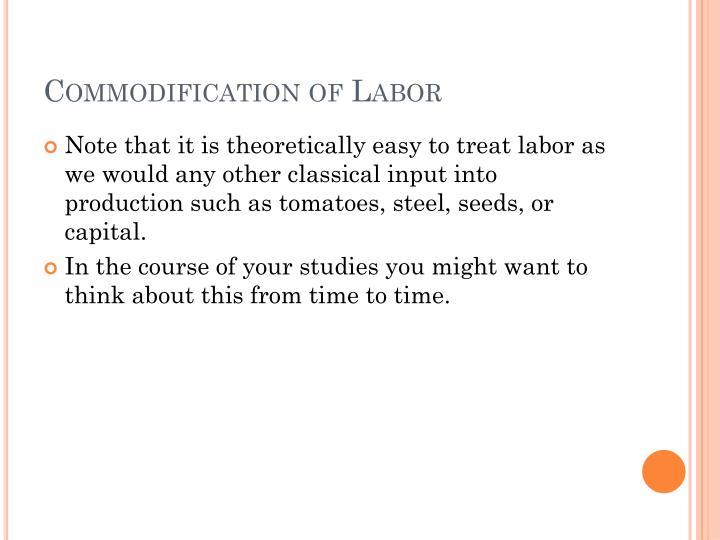 Commodification of Labor