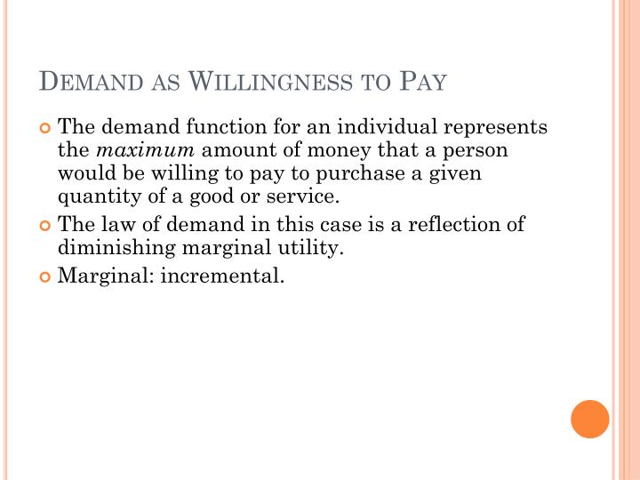 Demand as Willingness to Pay