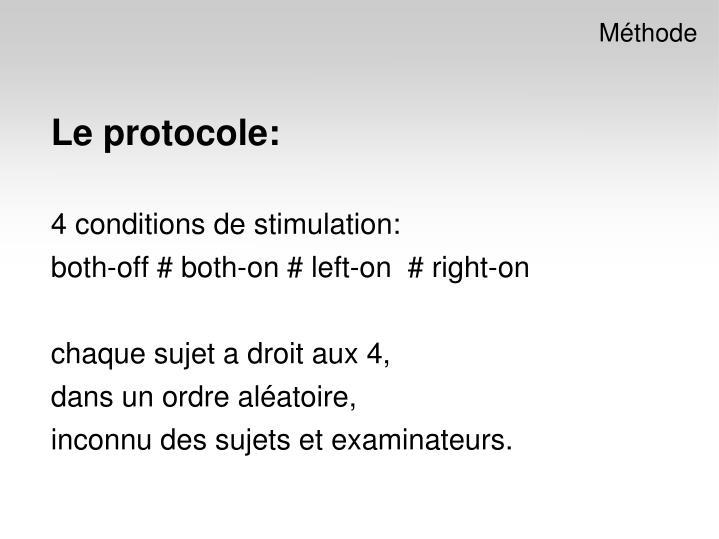 Le protocole: