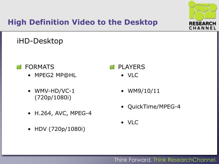 High Definition Video to the Desktop