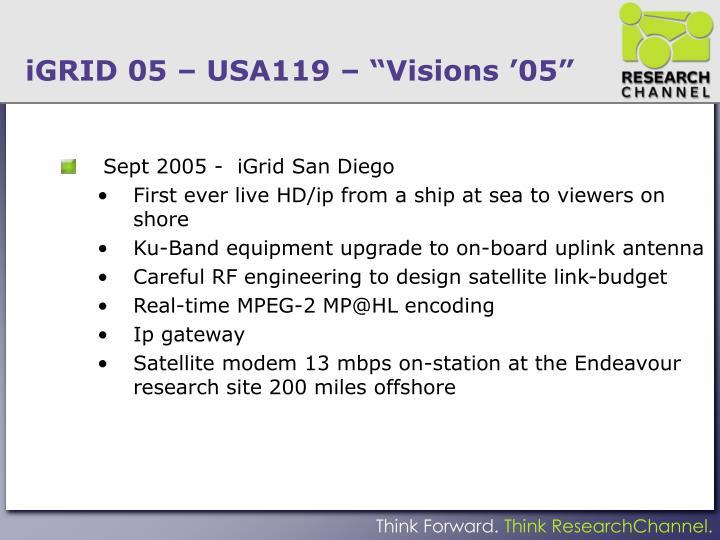 "iGRID 05 – USA119 – ""Visions '05"""