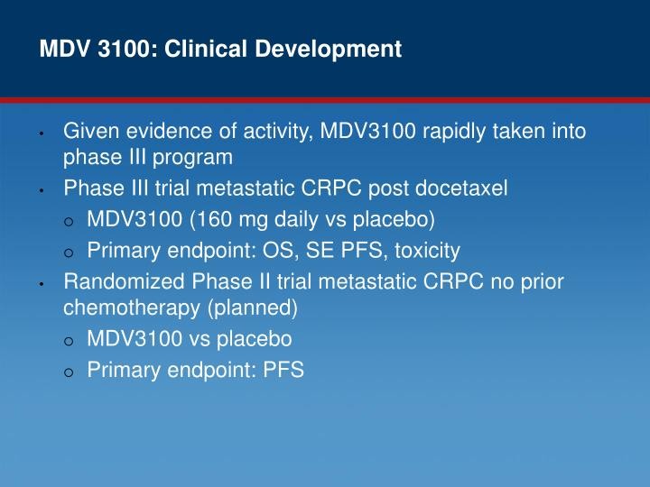 MDV 3100: Clinical Development
