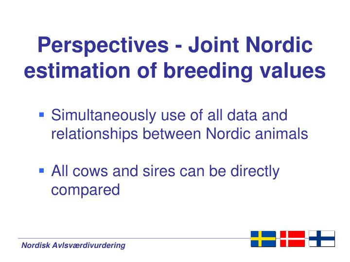 Perspectives - Joint Nordic estimation of breeding values