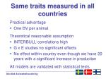 same traits measured in all countries