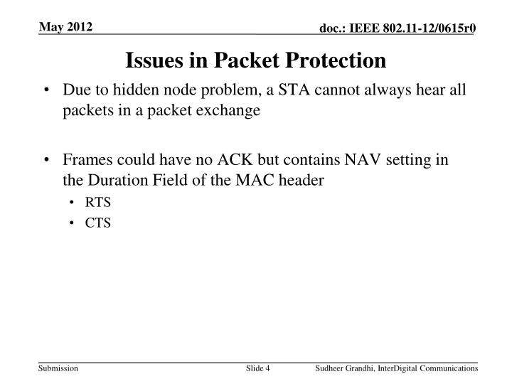 Issues in Packet Protection