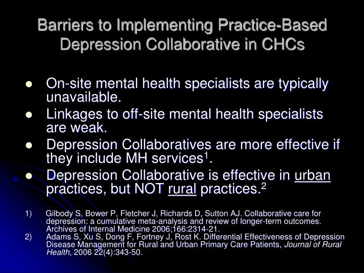 Barriers to Implementing Practice-Based Depression Collaborative in CHCs