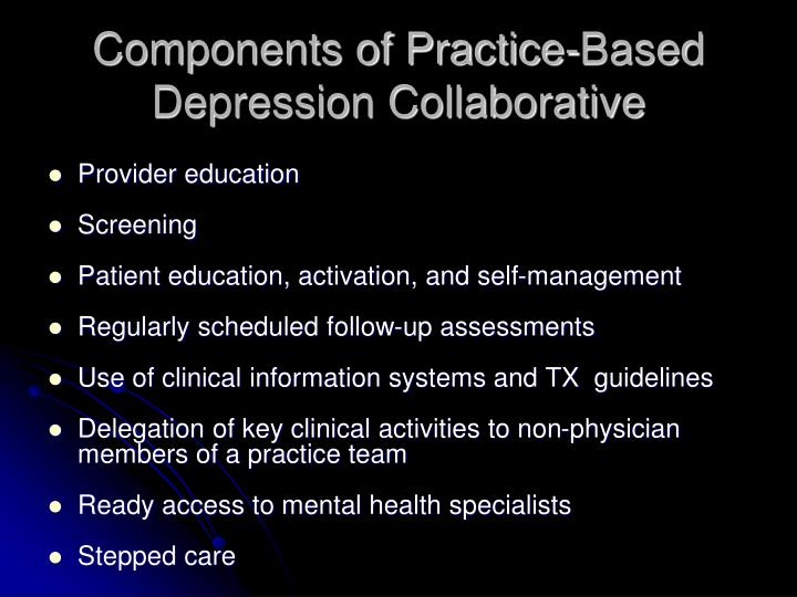 Components of Practice-Based Depression Collaborative
