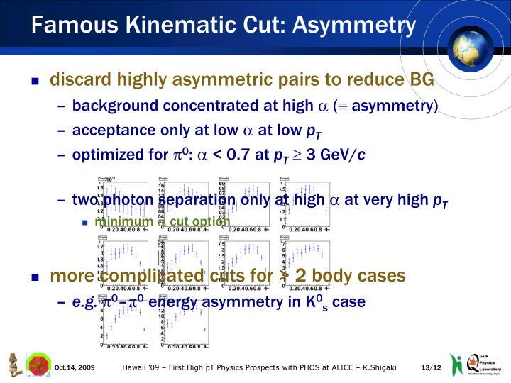 Famous Kinematic Cut: Asymmetry