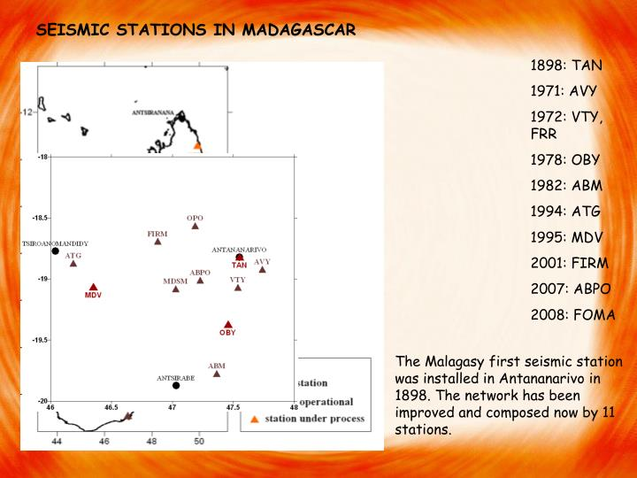 SEISMIC STATIONS IN MADAGASCAR
