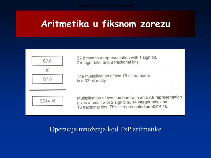 Operacija množenja kod FxP aritmetike