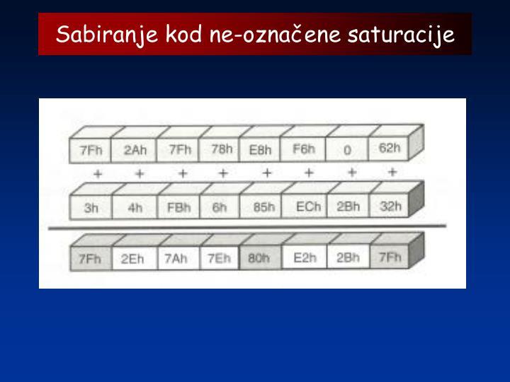 Sabiranje kod ne-označene saturacije