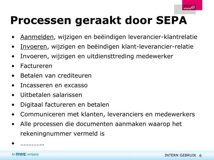 Processen geraakt door SEPA