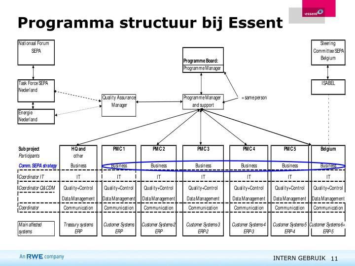 Programma structuur bij Essent