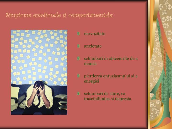Simptome emotionale si comportamentale: