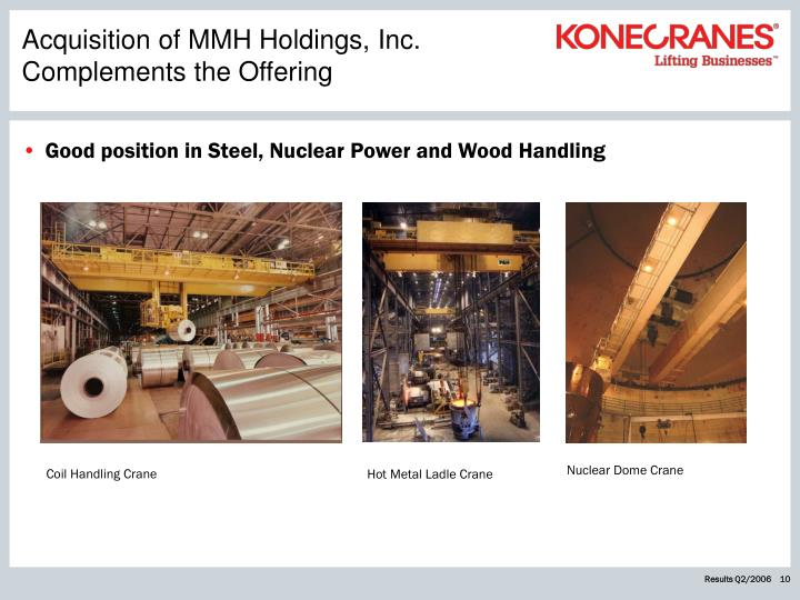 Acquisition of MMH Holdings, Inc. Complements the Offering