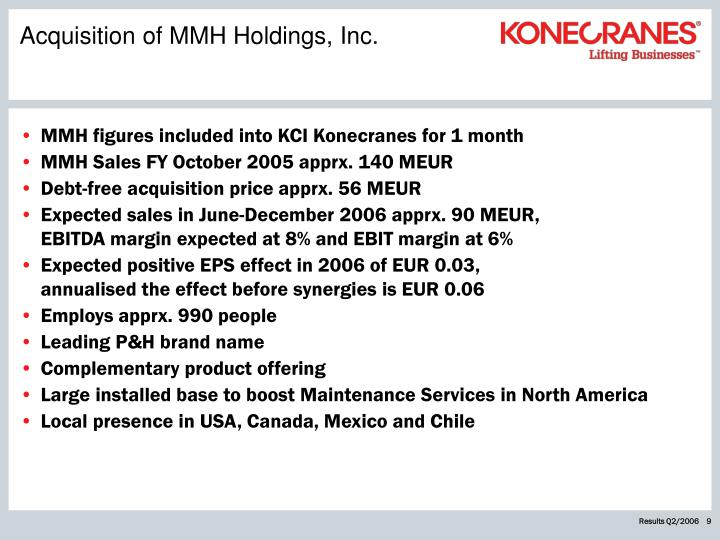 Acquisition of MMH Holdings, Inc.