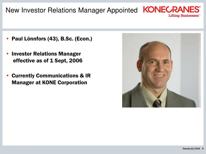 New Investor Relations Manager Appointed