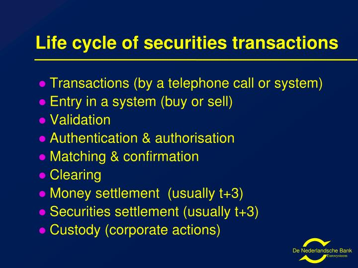 Life cycle of securities transactions