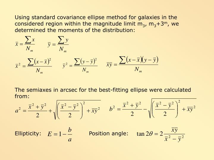 Using standard covariance ellipse method for galaxies in the considered region within the