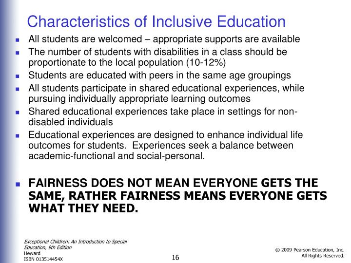 Characteristics of Inclusive Education