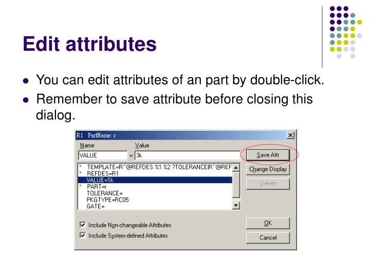 Edit attributes