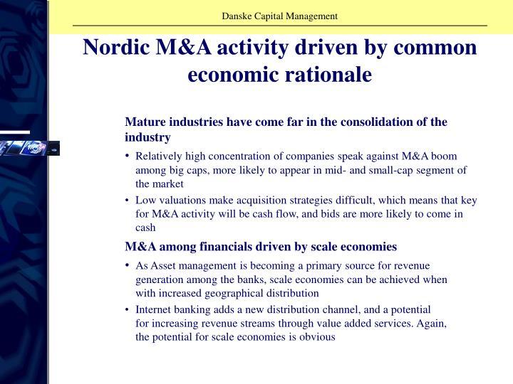 Nordic M&A activity driven by common economic rationale