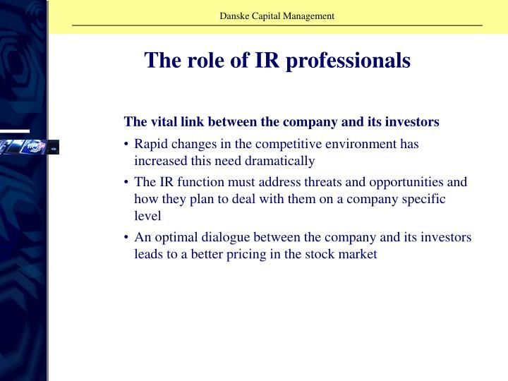 The role of IR professionals