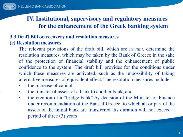 IV. Institutional, supervisory and regulatory measures for the enhancement of the Greek banking system