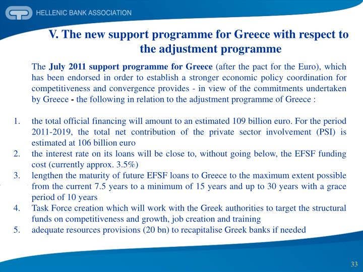 V. The new support programme for Greece with respect to the adjustment programme