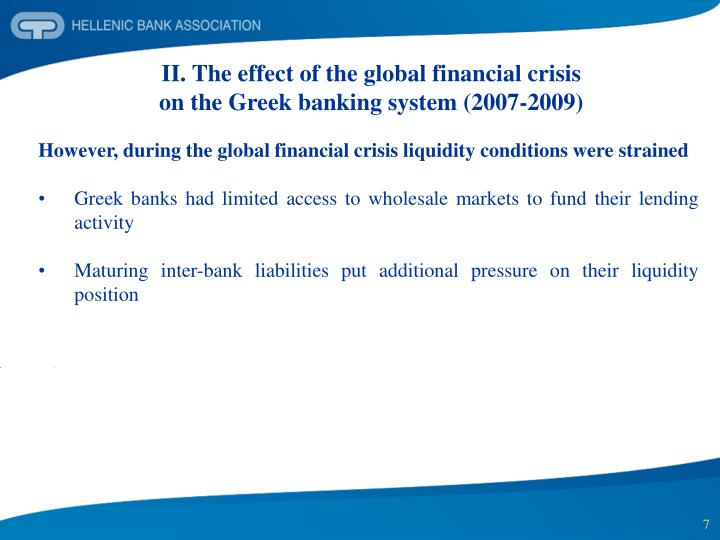 II. The effect of the global financial crisis