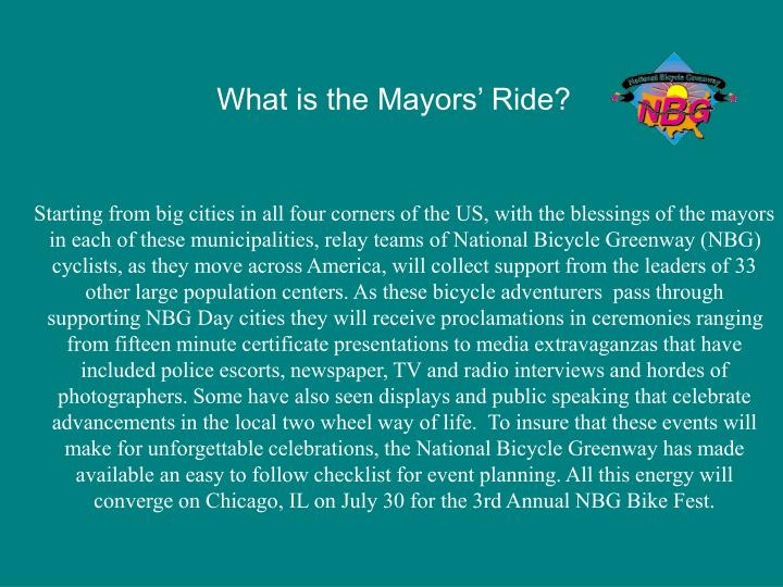 What is the Mayors' Ride?