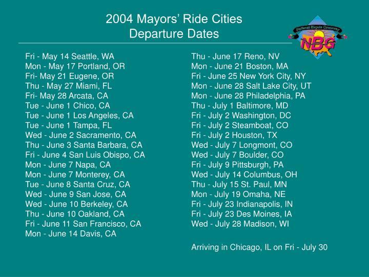 2004 Mayors' Ride Cities