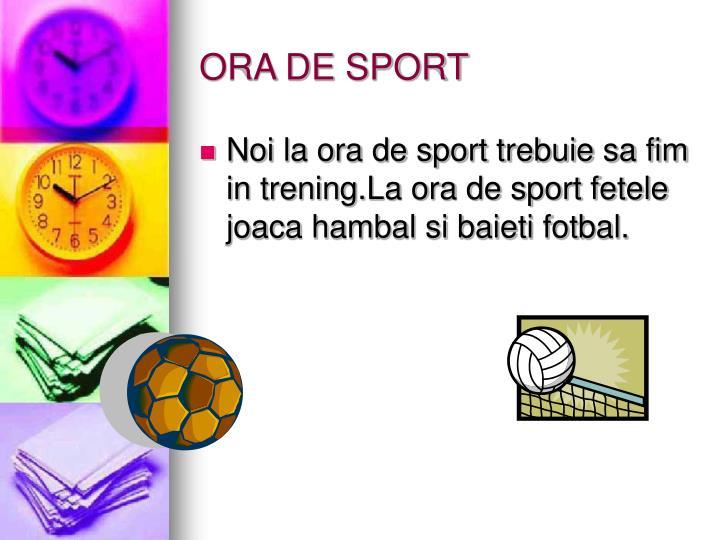 ORA DE SPORT