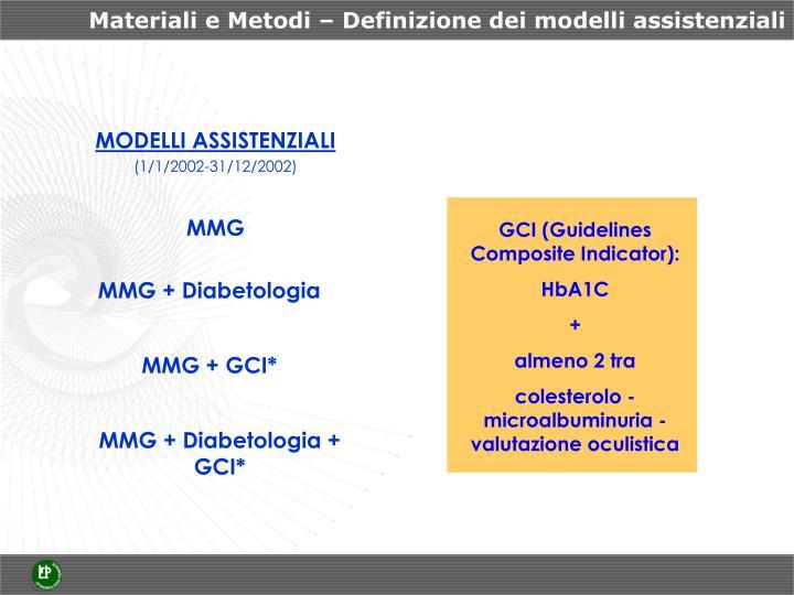 Materiali e Metodi – Definizione dei modelli assistenziali