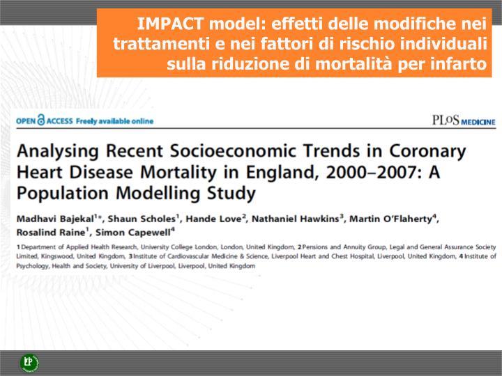 IMPACT model: effetti delle modifiche nei trattamenti e nei fattori di rischio individuali sulla riduzione di mortalità per infarto