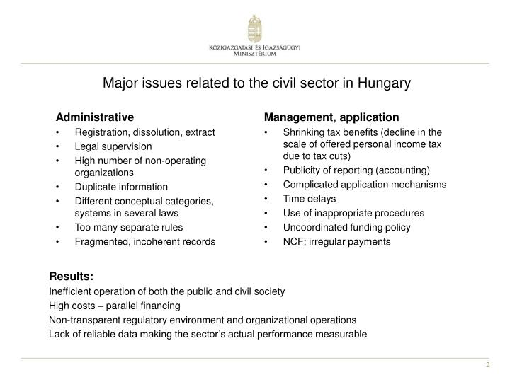 Major issues related to the civil sector in hungary