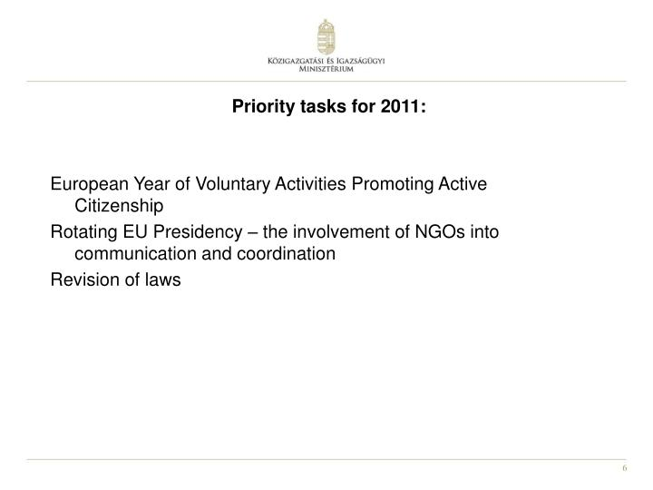 Priority tasks for 2011: