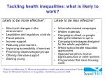 tackling health inequalities what is likely to work